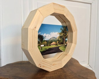 Geometric design light wooden picture frame double sided