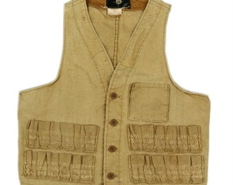US vintage hunting vest/Sears/camel/1970's/small/duck cotton/waistcoat/392
