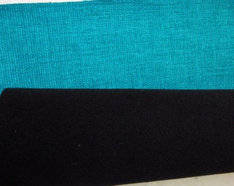 CANVAS SET WOVEN TURQUOISE, BLACK FLANNEL BACK, WITH ITS 3 BUTTONS