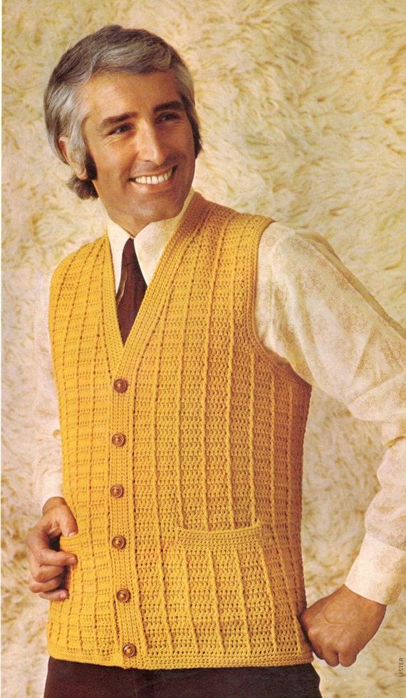 Vintage Crochet Pattern Mens Mans Boys Buttoned Down V Neck