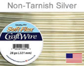28 Gauge Silver Non Tarnish Silver Plated Wire, Soft Flex, Round, Supplies, Findings, Craft Wire