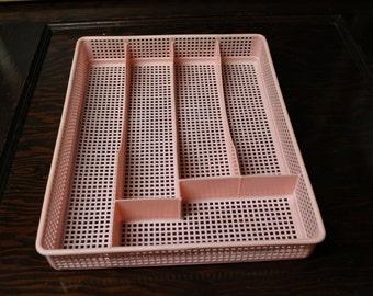 Pink Plastic Silverware Holder, Flatware Drawer Organizer Silverware Tray Mesh Storage