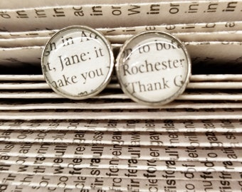 Jane Eyre Book Page Earrings, Real Book Page Earrings, Book Page Stud Earrings, Jane and Rochester, Charlotte Bronte, Book Nook, MarjorieMae