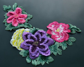 1 piece 3D Embroidery Flowers Appliques, sew-on Patches For Wedding Supplies,Appliques Flower,For dress DIY(83-64)
