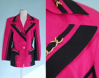 1980s 1990s Magenta Pink and Black Graphic Blazer with Gold Chain Detail // 80s 90s Funky Striped Jacket