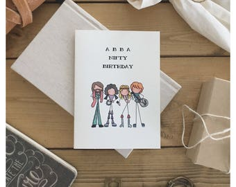 ABBA CARD // birthday card, greeting card, funny card, 50th birthday, punny, pun card, happy birthday, funny birthday card, abba, cute card