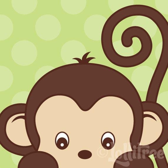 Items Similar To Peekaboo Monkey Art Print For Nursery Or
