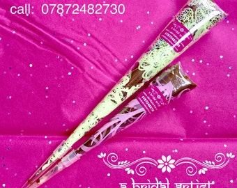 Henna Cones Trial Pack, Fresh Natural Organic Professional Bridal Quality - 1 x 10g and 1 x 20g Mehndi Applicator, Paste, Ink