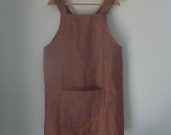 Japanese apron cross back apron linen blend pinafore metallic copper with pocket