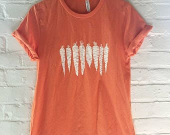 Carrot Shirt, Food Shirt, Vegetable Shirt, Screen Print Shirt, Gardening Gift, Soft Style Tee