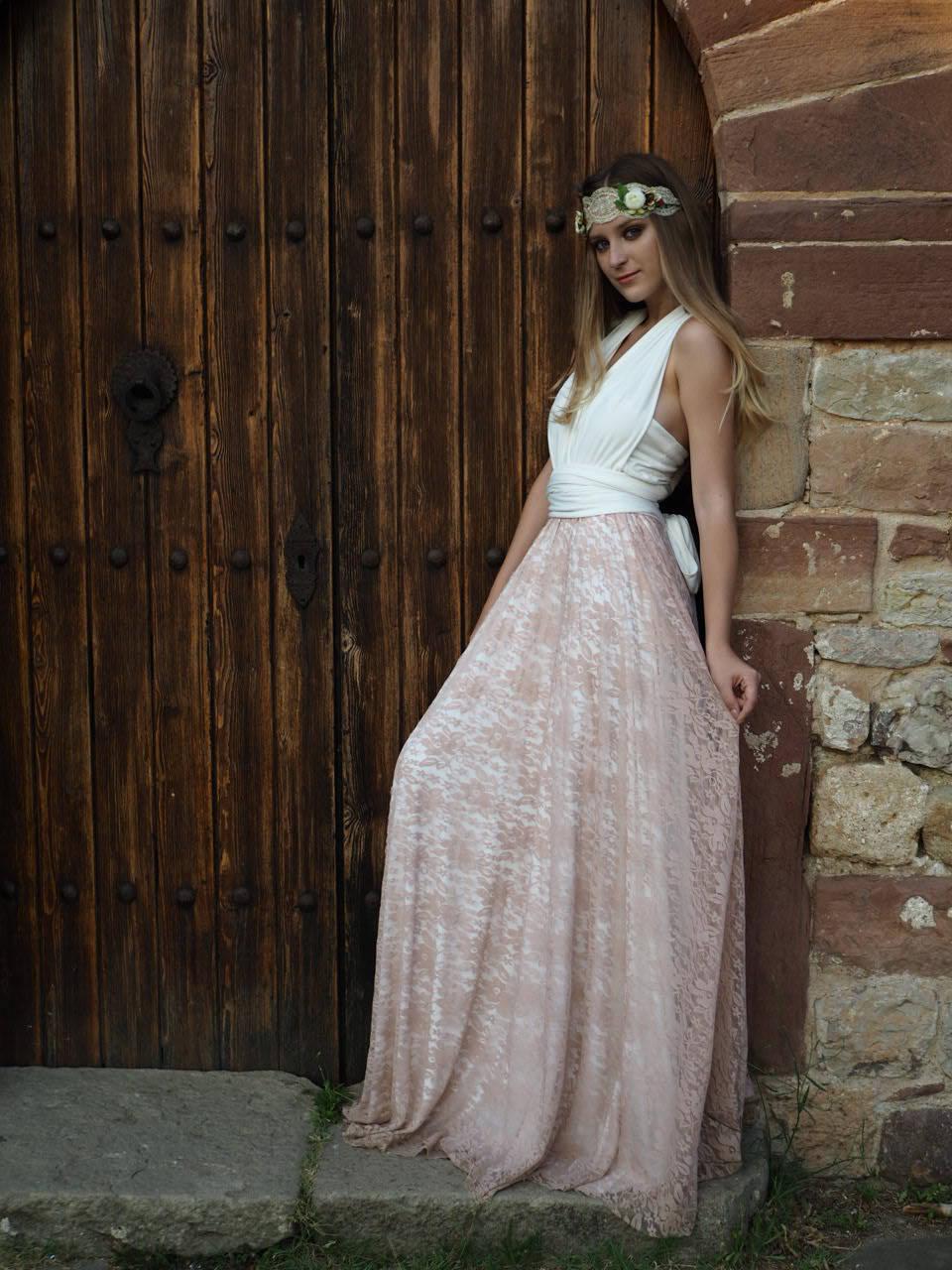 Böhmischen Hochzeitskleid romantisches Brautkleid