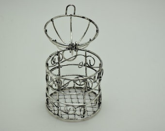1pcs antique silver bird cage findings 75x45mm