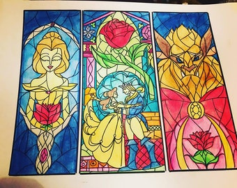 Stained Glass Style Beauty and the Beast A3 Painting