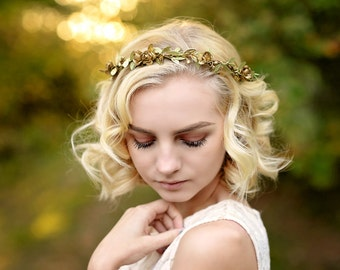 bridal gold crown - gold boho halo - gold rose crown - gold flower girl crown - wedding rustic flower crown - gold bridal crown - gold crown