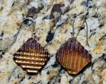 Folded Textured Copper With Brown Enamel Patina Drop Earrings Argentium Silver Hooks