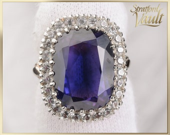 Vintage Lagies Sapphire Halo Ring ~ 12.00ct Created Blue Sapphire ~ 10K Yellow & White Gold ~ White Sapphire Halo ~ STR17306 ~ GIA ~ 3000.00