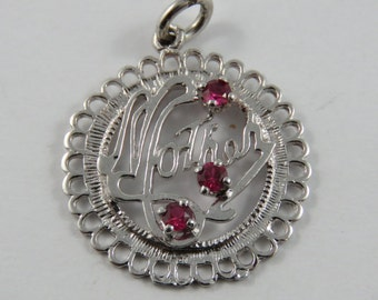 Mother with Three Enameled Red Stones as Roses Sterling Silver Charm or Pendant.