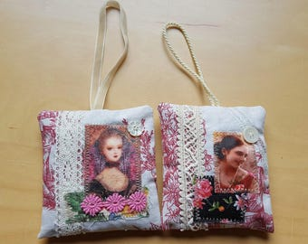 Lavender sachets French toile de jouy, lavender bag, lace vintage Marie Antoinette and retro woman