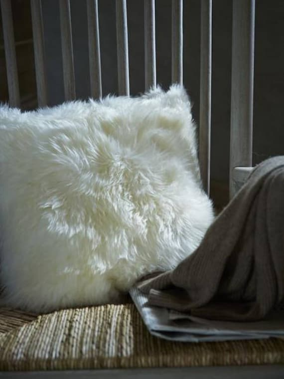Square Furry Pillow. Decorative pillows. Sheepskin pillows. Home decor. Furry pillows.