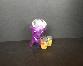 Fuzzy Purple Cow with - Made in Hong Kong