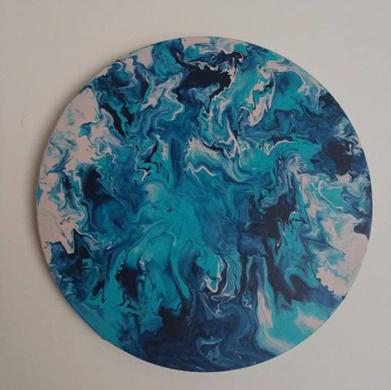 Circle canvas acrylic marble effect painting aqua metallic for Acrylic paint effects