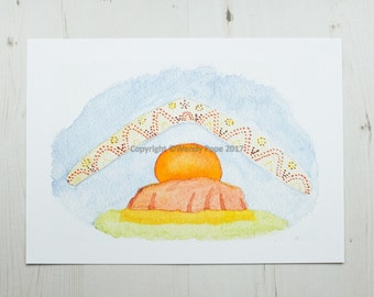 Sun Rising Behind Ayers Rock (Uluru). Lovely summery print from a watercolour painting. Great gift for anyone who loves Australia!