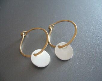 Small 14K Gold Hoop Earrings Sterling Silver Disc Hoops Gold Hammered Earrings