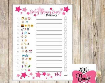 Baby Shower Emoji Pictionary Girl Baby Shower Game Baby Shower Pictionary  Baby Shower Emoji Game Pink Stars Emoji Game Digital Download