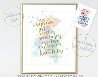 Teacher Print Albert Einstein - Teacher Gift - Teacher Thank you gift - Teacher Present - End of Term Gift - Teacher Watercolour style