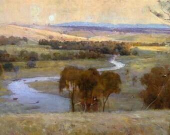 Arthur Streeton, Still Glides the Stream 1890, HD Canvas Print or Art Print, Vintage Antique Artwork Wall Poster Australian Impressionism