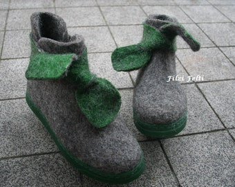 Felted Shoes Women Gray Green Winter Boots Outdoor boots Women boots Narrow/ Medium Feet US 6,5 US 7