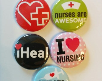 Nurse set of 5 nurse themed Mini 1 inch magnets or 1.25 inch button magnets  you choose size