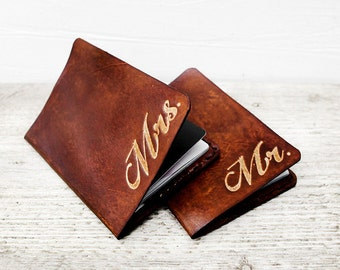 Mr and Mrs Leather Passport Holders, His and Hers Gift Set of Two Passport Covers for a Perfect Rustic Wedding Feel