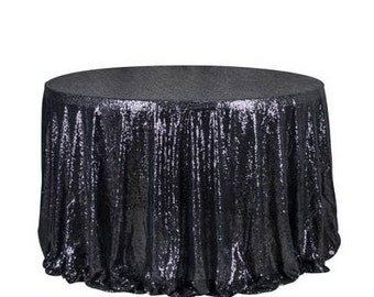 1pcs Black Glitter Sequin Tablecloth Wedding Engagement Anniversary Reception Ceremony Function Bouquet Christening Birthday Decorations