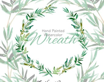 Watercolor Wreath Clipart, Olive Branch, Branches, Leaves, DIY Wedding, DIY Card, Watercolor Clipart, Wedding Bridal, Shower, Invitation