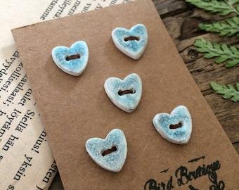 Blue Dreamer... Ceramic Heart Buttons, set of 5 blue stoneware buttons