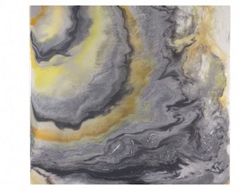Yelow and Gray Poured Agate Painting 2: an original acrylic artwork in light yellow, dark grey, light gray & white on 12X12 inch wood panel