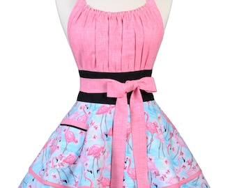 Flirty Chic Pinup Apron - Tropical Pink Flamingos - Womens Sexy Cute Retro Kitchen Apron with Pocket