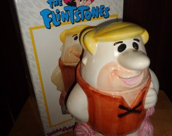 Fun Retro Hanna Barbera Flintstone Barney Rubble Cookie Jar Certifield International has box