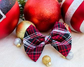 Christmas dog bowtie, holiday dog bowtie, plaid dog bow tie, xmas dog bow tie