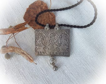Old Tribal Amulet Necklace, Chiseled Silver Pendant from Himachal Pradesh, Ethnic Jewelry India, Gypsy Protection Jewelry, Bohemian Fashion