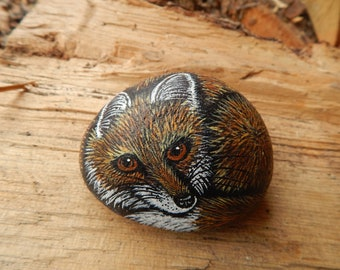 Fox Painted Rock, Red Fox Painting, Red Fox Painted Rock, Red Fox Art