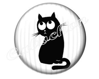 2 cabochons 25mm glass cabochon black cat silhouette, black and white tone