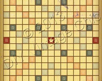 Vintage-looking Scrabble Board - Printable JPG file