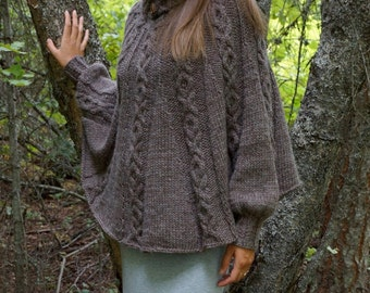 Olga's Poncho PDF Knitting Pattern in Sm (petite), Med and Lg (Tall) sizes