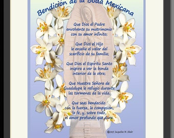 Personalized unique Mexican Wedding Gift in Spanish or English Bendicion de la Boda Mexicana, Anniversary gift, Engagement gift, framed
