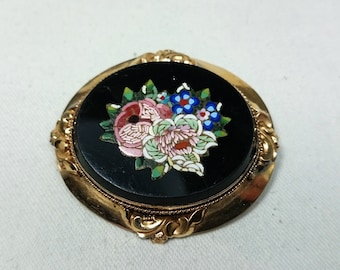 Large Floral Micro Mosaic Brooch, Italy, Grand Tour, Souvenir Jewelry