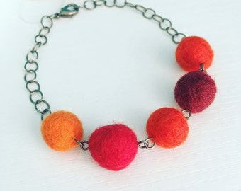 Paulina Felt Bracelet in Spice, Red Orange Statement Jewelry, Adjustable Felt Ball Bracelt, Merino Wool, Fiber Jewelry, Gift Under 25, Bold