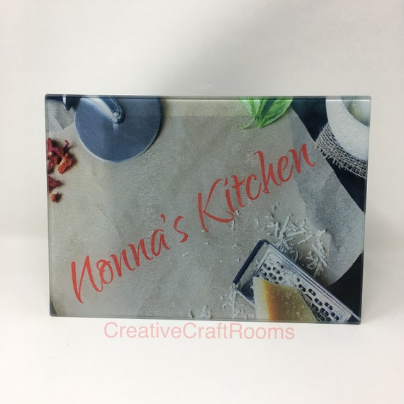 Nonna Kitchen Glass cutting board, Nonna's Kitchen glass cutting board, Nonna's cutting board, Nonna's chopping board