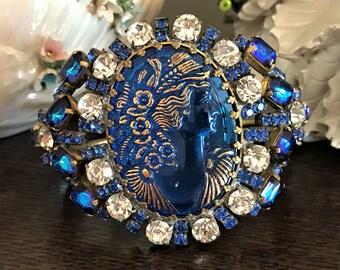 Vintage Rhinestone Hinged Cuff Bracelet,  Blue Cameo Bracelet, Estate Jewelry, Vintage Clamper Bracelet, Vintage Cuff Bracelet